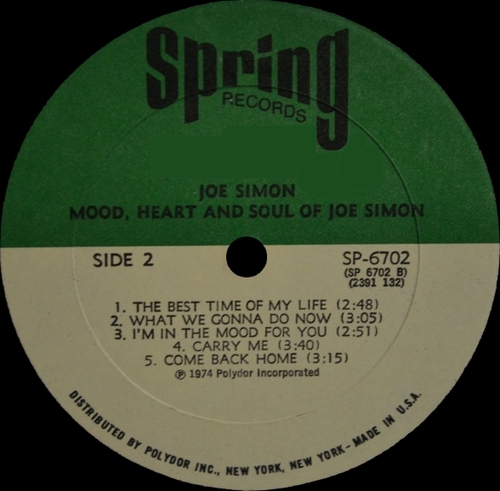 "Joe Simon : Album "" Mood , Heart And Soul "" Spring Records SPR 6702 [ US ]"