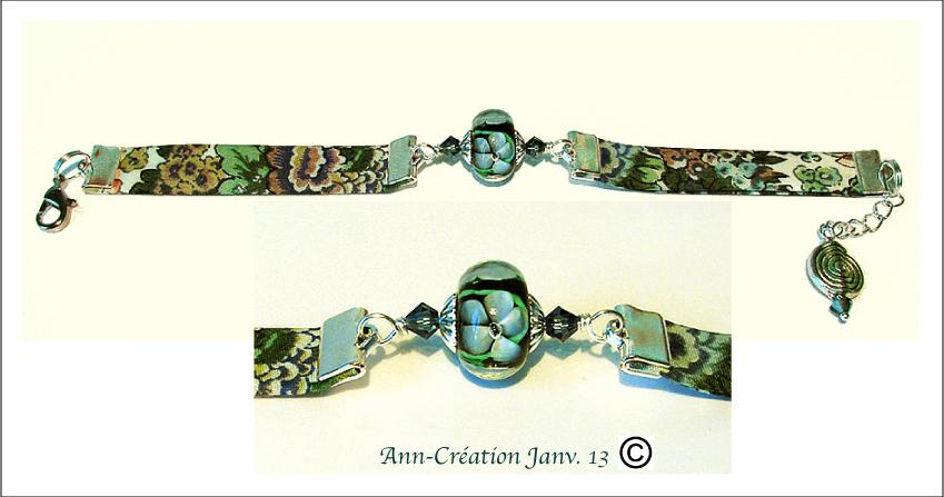 Bracelet Tissu Liberty authentique Bleu N°2 / Verre Lampwork / Plaqué Argent