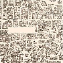 Plan de 1552 représentant le Paris de Nicolas Flamel, de sa maison au coin de la rue de Marivaux et de la rue des Écrivains au cimetière des Innocents