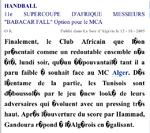 """Salle """"El Menzah"""" Club Africain (Tunisie)-MCA 27-33"""