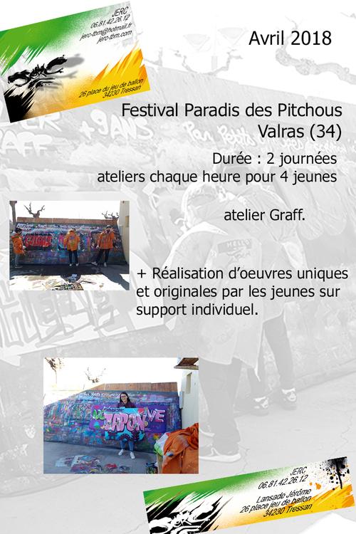 """atelier graff par groupe de 4 jeunes chaque heure lors du festival """"paradis des pitchous"""" Valras (34) sur affichette. Avril 2018. les photos : http://www.jerc-tbm.com/crbst_5.html"""