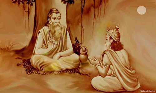 L'ascète Asthavâkra enseignant au roi Janaka