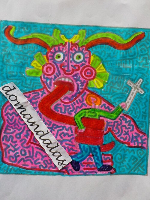 DOMANDALAS  coloriage keith Haring diable mangeant