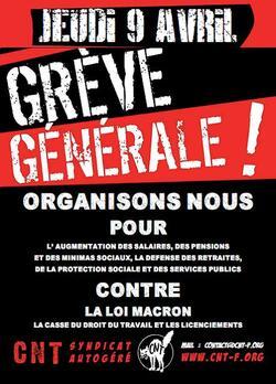 Le 9 avril : Grève générale !
