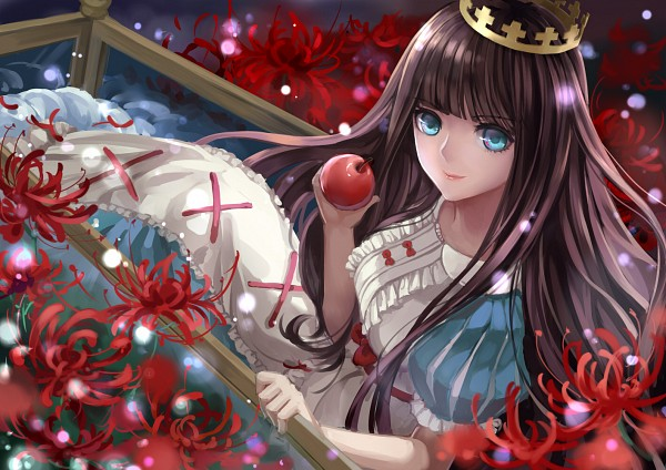 Tags: Anime, Monogo (Pixiv1148360), Schneewittchen, Apple, Puffy Sleeves, Princess, Red Ribbon