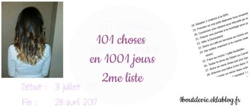 101 choses en 1001 jours : 2me liste