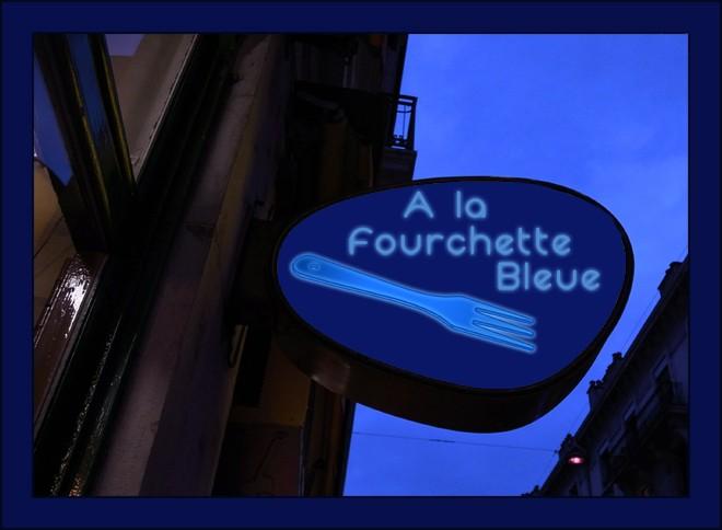 restaurant, fourchette, bleu, néon, photoshop