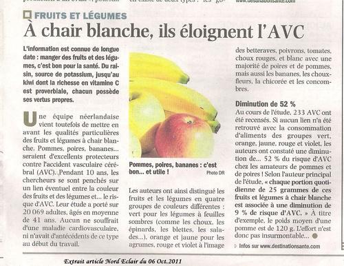 LES FRUITS BLANCS POUR EVITER LES RISQUES D'A.V.C....