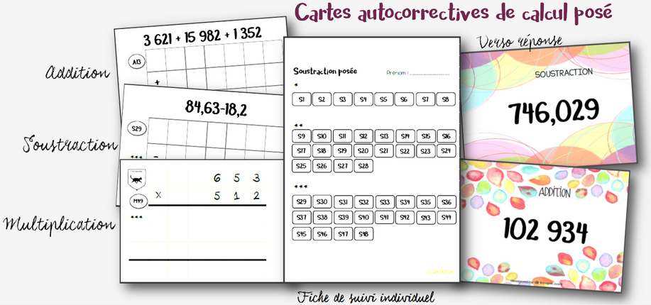 Cartes autocorrectives de calcul posé
