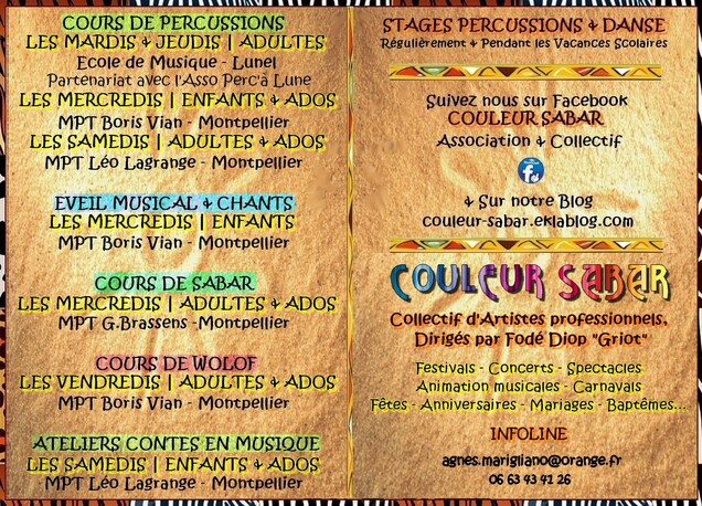 ★ Cours de Percussions [Les Mardis - Mercredis - Jeudis - Samedis]