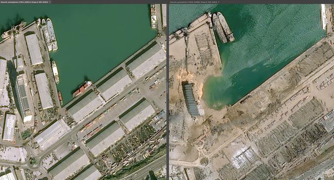2020 08 04 Port de Beyrouth Avant-Après
