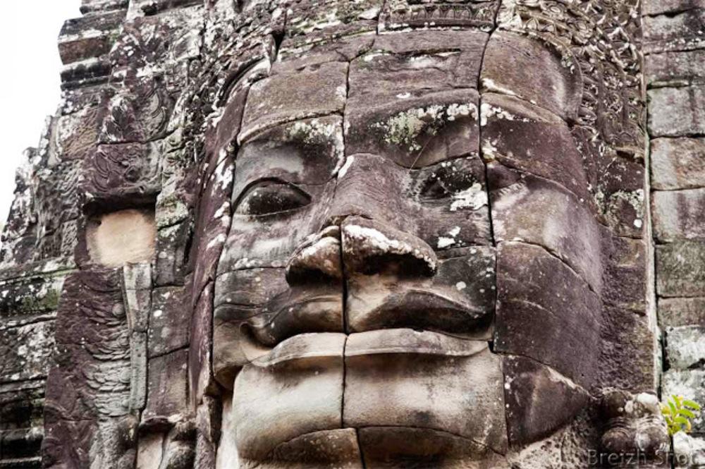 Angkor Thom, le Bayon - Sourire énigmatique d'un visage géant