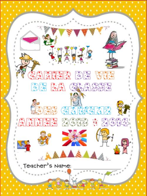 thème mythologie : page de garde du cahier de vie de la classe