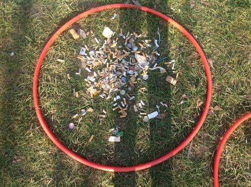 Semaine Bouge ta planète Atelier tri des déchets au parc avec les Cm2