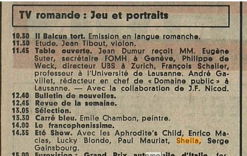 07 septembre 1969 / ETE SHOW (TSR)