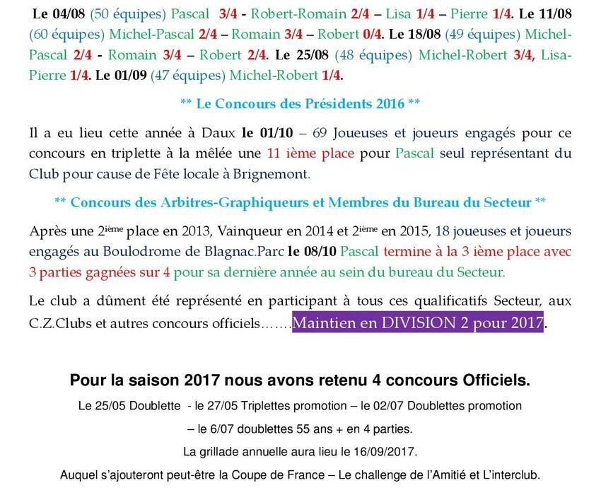Bilan de la saison 2016 (Mis à jour le22/10/2016)