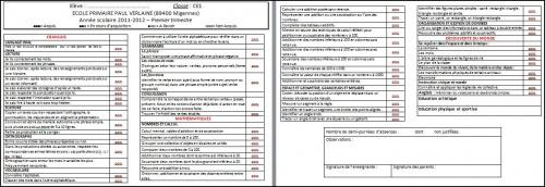 Bulletins CE1 trimestre 1