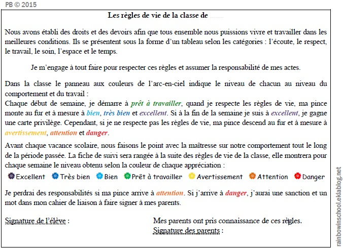 Top Règlement de classe - Rainbow in school OM27
