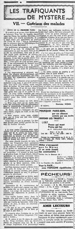 Guérison des malades (L'Humanité 11 jan 1937)#2