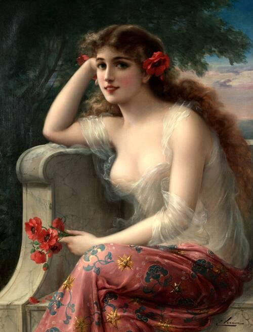 Jeune Femme aux coquelicots, Emile Vernon