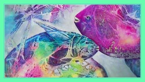 Dessin et peinture - vidéo 2526 : Une peinture abstraite réalisée avec de l'emballage plastique souple - peinture acrylique.