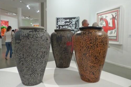 Keith Haring political line 3 vases décorés