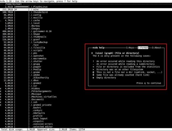 Analyser l'espace disque avec NCDU