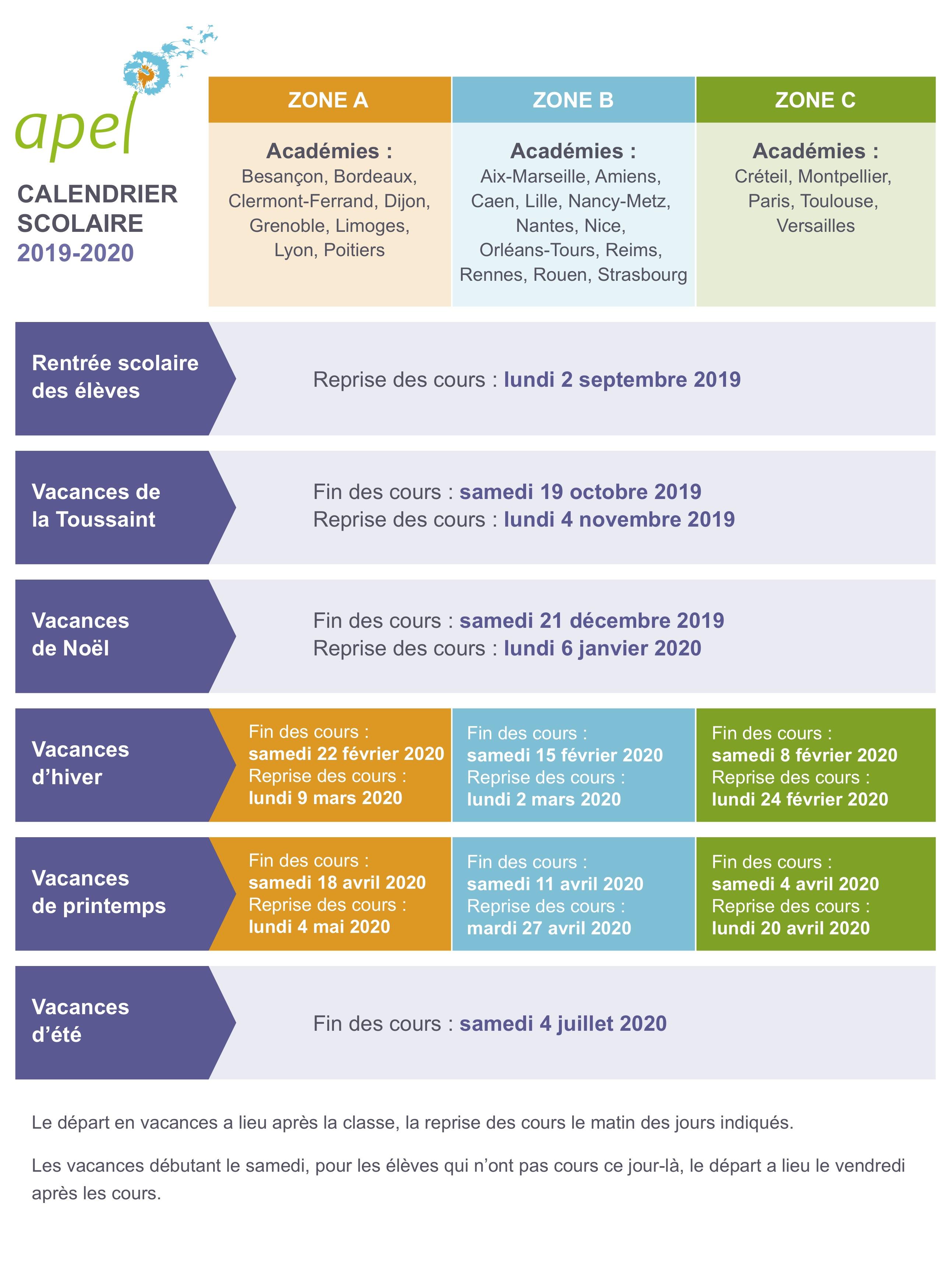 ⚐ Calendrier des Congés Scolaires 2019/2020
