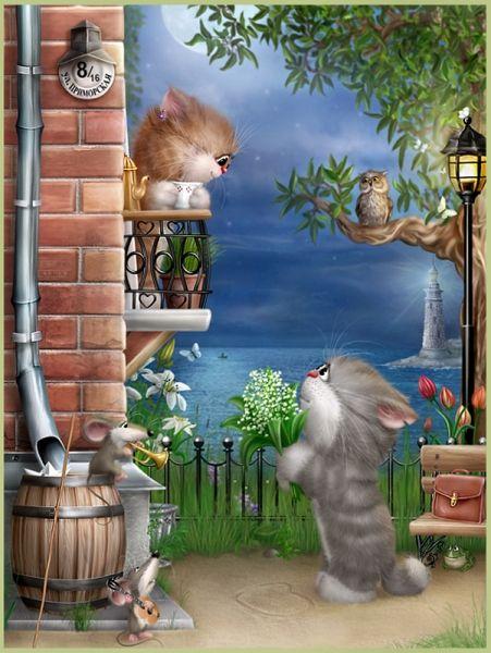 Большая коллекция иллюстраций с котиками от Алексея Долотова (Xenopus) » RadioNetPlus.ru развлекательный портал