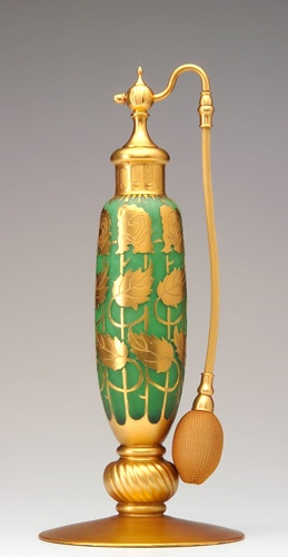 DEVILBISS Exceedingly rare perfume atomizer in Steuben acid cut art glass, with green interior, gilded detail, 1928 catalog