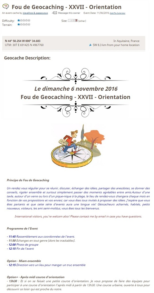 6 Novembre 2016 - Fou de Geocaching - XXVII - Orientation