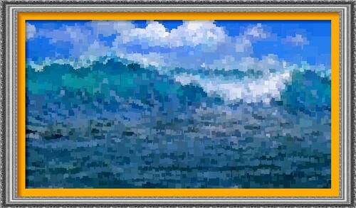 Dessin et peinture - vidéo 2187 : Une déferlante pour surfer - peinture à l'acrylique ou à l'huile.