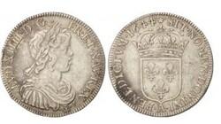 Pièces Louis XIV 1/2 écu mèche courte 1644