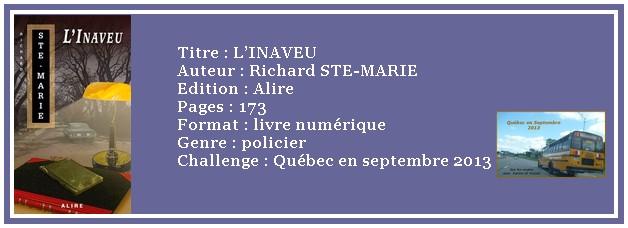 Québec en septembre 2013 : L'INAVEU