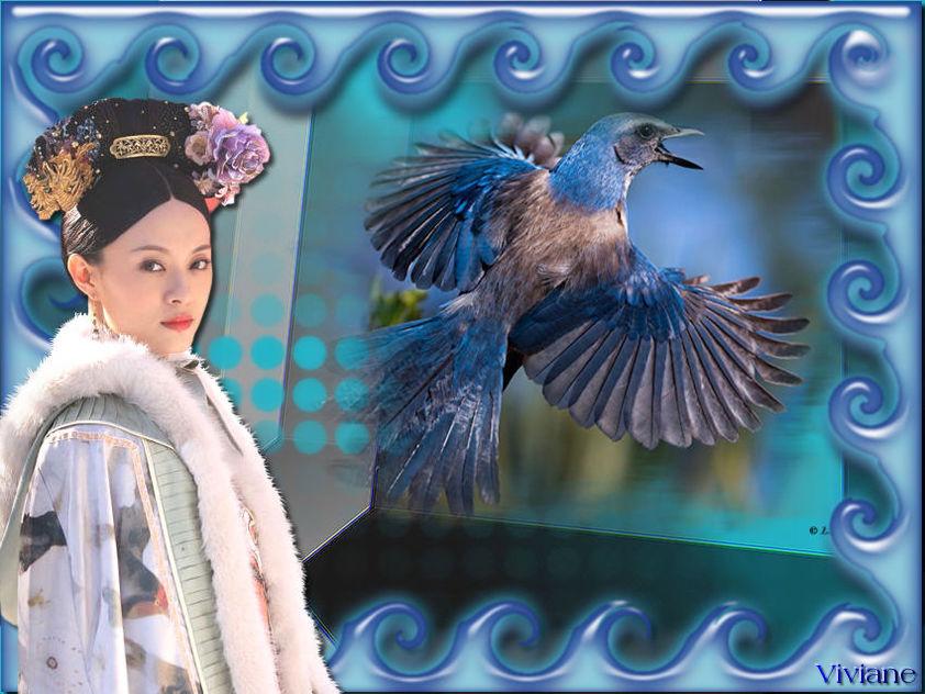 La dame et l'oiseau bleu