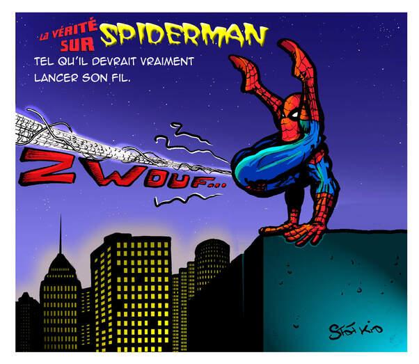 Parfois la logique très scientifique de mes monstres m'amène à voir les choses sous un autre angle.  Par exemple : après observation de ces charmantes petites bêtes, c'est vrai que Spiderman n'a aucune raison de lancer ses toiles par les poignets... En tous cas elles, c'est pas comme ça qu'elles font.