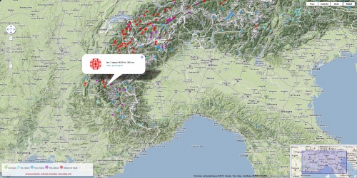 Snowdepth European skiresorts on Google Maps