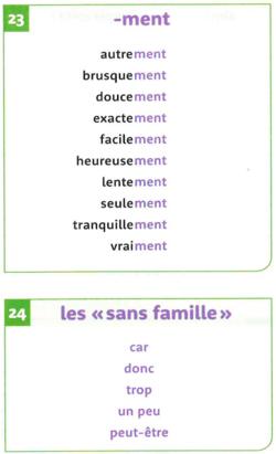 """Mots à bien connaître: listes 23, """"-ment"""" et 24, """"sans famille"""""""