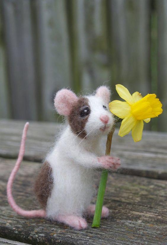 Feutrée à laiguille animal souris personnalisée articulée | Etsy