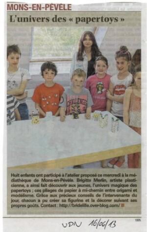 Atelier Paper toys Brigitte merlin médiathèque arts plas