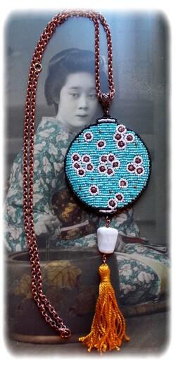 collier, sautoir lanterne chinoise, lampion asiatique
