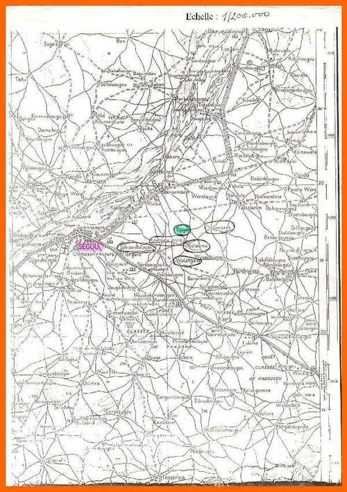 Carte des  environs de Segou