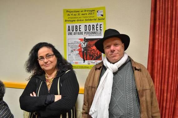 Angélique Kourounis et Thomas Lacobi, en 2017, lors de la présentation du film «Aube Dorée».