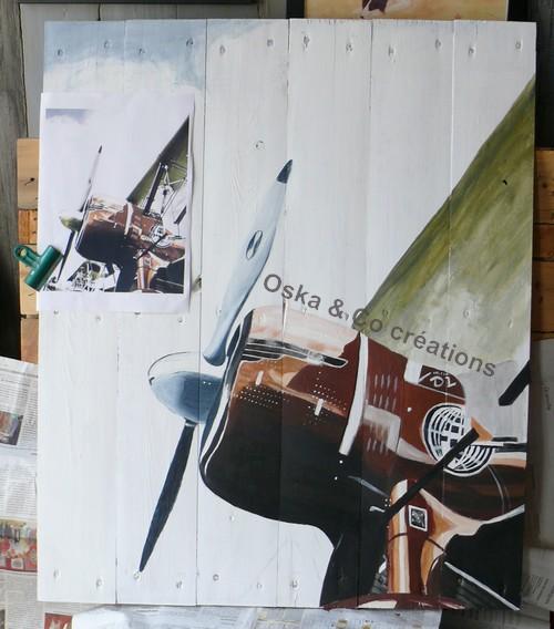 Avion peint sur palette : suite