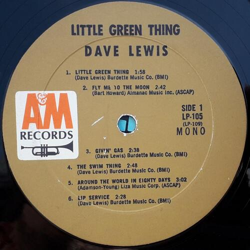 "DAVE LEWIS ""LITTLE GREEN THING"" - A & M LP 105 -"