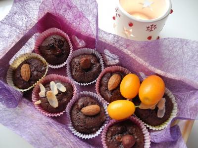 Petits moelleux au chocolat et aux kumkats confits