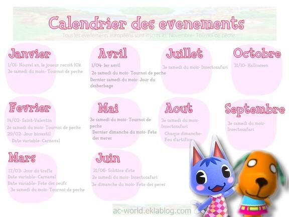 Le calendrier des évenements