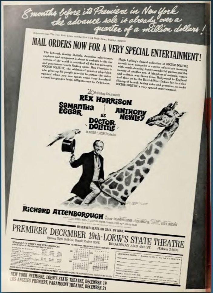 DOCTOR DOLITTLE BOX OFFICE USA 1967