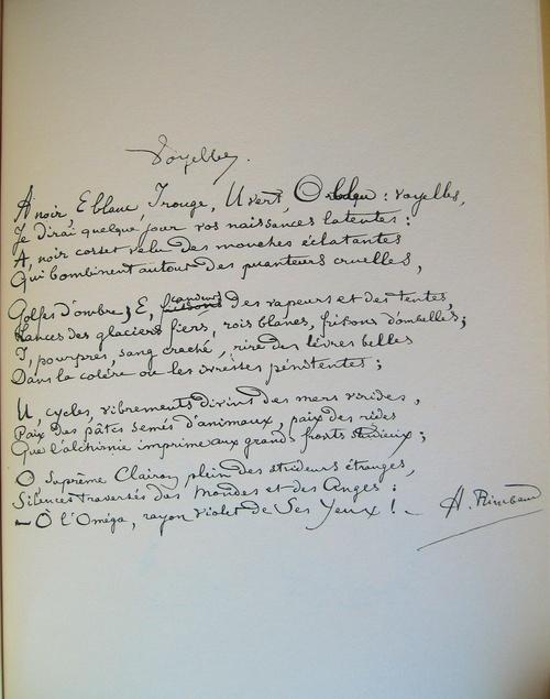 Manuscrit: Voyelles