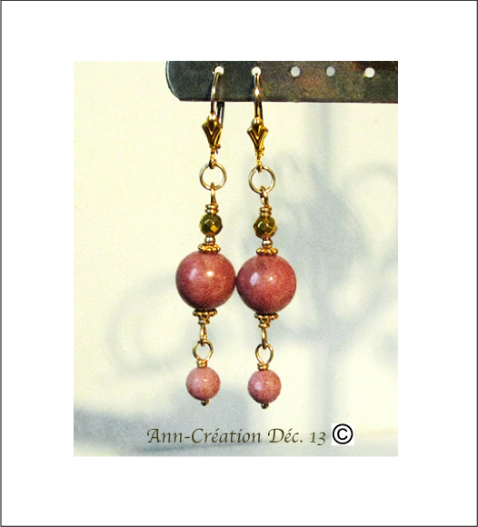 Boucles Dormeuses Rhodochrosite, Pyrite / Plaqué Or Gold Filled
